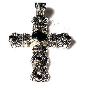Jewelry - Garnet and silver cross pendant